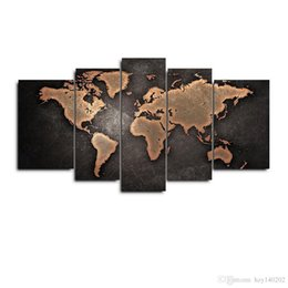 Wholesale Map Canvas Art - YIJIAHE D1 Canvas Painting Art 5 Pieces map Wall Art Pictures Print On Canvas Become Paintings To Decorate Your House Office ect.!!