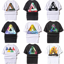 Wholesale Pure Gold 24 - 2017 3d t shirts 24 color PALACE T-shirt British iron triangle tide lovers short sleeve print round neck pure color skateboard tee