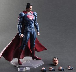 Wholesale Action Figure Play Arts - Dawn Superman Joint Action Figures Marvel hero Batman War II PLAY ARTS change Superman Justice movable doll hand Office animation model 28CM