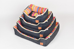 Wholesale Cotton Pet Dog Beds - Pinco Colorful Stripe Bolster Tear-Resistant Pet Bed for Cats & Dogs, Removable & Machine Washable Cover, Extra Comfy Cotton-Padded