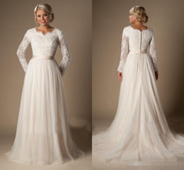 Wholesale Size 16 Informal Wedding Dress - 2016 Informal Long A-Line Lace Tulle Modest Temple Wedding Dresses Long Sleeves V-Neck Sheer Sleeves Trains Buttons Back Bridal Gown BB