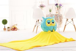 Wholesale Three Teddies Gift - three-in-one plush toy night owl hand warmer  Air conditioning quilt Blankets pillow birthday  christmas valentine gift
