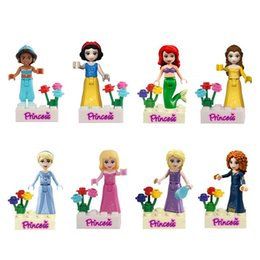 Wholesale Snow Blocks - 480pcs lot Snow White Princess Building Blocks Kids Diy Bricks Model Toy figures