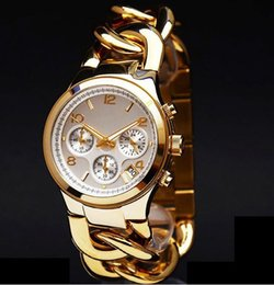Wholesale Bracelet Lady Watches - M brand Gold wristwatches 2016 Fashion Stainless Steel Hour Janpan Quartz Movement Ladies Men Dress Two Links Bracelet Watch Free shipping