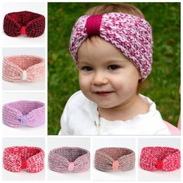 Wholesale Knitted Elastic Headbands - Baby Knit Headband For Winter Cute Girls Double Crochet Top Knot Elastic Turban Girls Head Wrap Ears Warmer Headwear YYA484