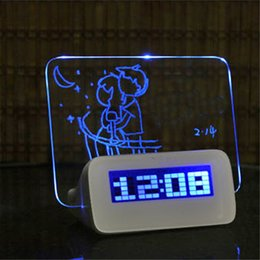 Wholesale Message Board Alarm Clock Calendar - Blue LED Fluorescent Digital Alarm Clock with Message Board USB 4 Port Hub