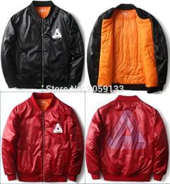 Wholesale Men S Red Jackets - Wholesale- new fashion hiphop palace zipper up men unisex light weight windbreaker Men Bomber Jacket Women jacket black  red coat S- XL