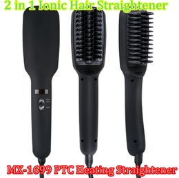 Wholesale Professional Ionic Hair Dryer - PTC Heating!!! Black  Pink 2 in 1 Ionic Hair Straightener Brush Professional Comb Electric MX-1699 PTC Heating FASTHair Straighteners