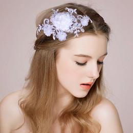 Wholesale Tie Head Bands - Shinny Crystal Bridal Wedding Head Piece Bride Headwear White Lace Bow-Tie Headband Hair Band 100% Handmade Women Party Jewelry Accessories