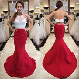 Wholesale Halter Top Dresses Plus Size - 2018 Newest Two Pieces Prom Dress Long Formal Two Tone Mermaid Prom Dresses Halter Sleeveless Backless Lace Crop Top with Bow Red Skirt