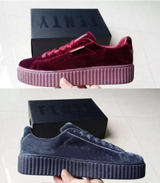Wholesale Original Brand Shoes For Women - Original Rihanna Riri Fenty Platform Creeper Velvet Pack Burgundy For Women All Black Grey Color Brand Ladies Classic Casual Shoes 36-39