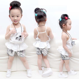 Wholesale Fashion Tank Tops Wholesale - Fashion Girl Dress Baby Suit Child Clothes Kids Clothing 2016 Summer Tank Tops Sequin Shorts Children Set Kids Suit Outfits Lovekiss C24724