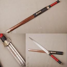 "Wholesale Han Jian - Details about 80cm high carbon steel Chinese Han Dynasty sword ""Han jian"" Rose wood saya cool hamon straight knife"