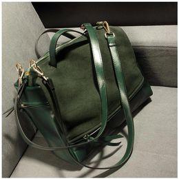 Wholesale A4 Messenger Bags - Wholesale- Tinkin 2016 Suede Bag Nubuck Women Handbag Fashion Vintage Messenger Bag Larger Motorcycle Winter Women Bags Bigger Than A4