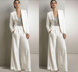 Wholesale Silver Color Tuxedo - 2018 Modest Bling Sequins White Mother Of The Bride Pants Suits Formal Chiffon Tuxedos Women Party Wear New Fashion Custom Made