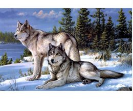 Wholesale Canvas Paste - NO Frame! Wolf counted cross stitch kits paste painting the living room needlework kits 0135R- Square Diamond Embroidery zx