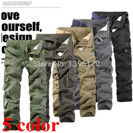 Wholesale Cargo Overalls Men - Wholesale-2016 brand outdoor tactical pants Multi-pocket washed 100% cotton army Overalls men cargo pants men plus large size28-38 015
