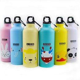 Wholesale Aluminum Drinking Water - Cheapest!!! Aluminum Sport Bottles Creative Cartoon Outdoor Climbing Cycling Water Bottles Camping Water Kettles with hook 500ML