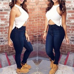 Wholesale Plus Size High Waisted Jeans - Fashion Women High Waisted Pencil Stretch Denim Jeans Pants Ladies Skinny Tight Jeans Trousers 2 Colors Plus Size XS-4XL