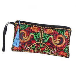 handmade bags sale UK - Wholesale- Hot Sales Women Retro Boho Ethnic Embroidered Wristlet Clutch Bag Handmade Purse Wallet Storage Bags
