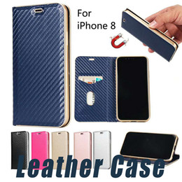 Wholesale Iphone Magnet Wallet Cases - For iPhone X 8 6 7 Plus 5 Magnetic Magnet Leather Wallet Case with Card Slot Flip Stand Case For S8 Plus S7 Edge