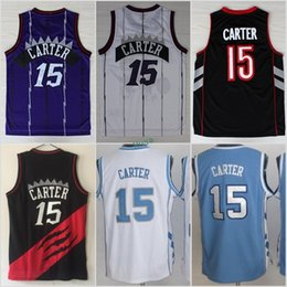 Wholesale North Blue - Throwback 15 Vince Carter Jerseys North Carolina Tar Heels College Carter Jersey Blue Black White Purple Hot Sale Size S-3XL