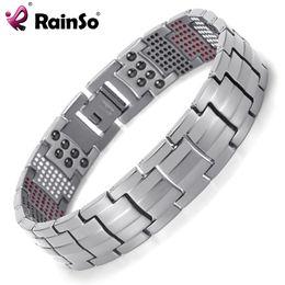 Wholesale Gold Bracelets For Health - Rainso Men Jewelry Healing magnetic Bangle Balance Health Bracelet Silver Titanium Bracelets Special Design for Male