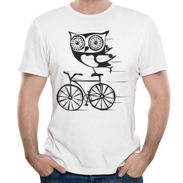 Wholesale Clothing Owl Designs - Funny Design T Shirt Male Short-sleeve Clothes White Men Short T-Shirt Owl By Bicycle 100 Cotton Tee Shirts For Mens