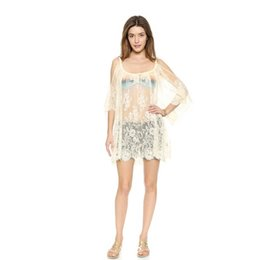Wholesale Women Lace White Mini Dress - Women Summer Swimsuit Beachwear Bikini Beach Cover ups Vestidos Swimwears Floral Sexy Lace Crochet Mini Tunic Dress Wholesale 2506026