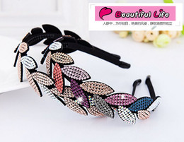 Wholesale Full Hair Jewelry - Free Shipping Full Rhinestone Non-Slip With Toothed Wide Hair bands For Women Temperament Goddess Hair Jewelry Accessories Boutique Headwear