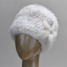 Wholesale Genuine Mink Hat - Winter mink fur hat for women genuine natural fur cap Russian beanies hat fashion good quality thick warm fur hats
