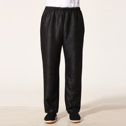 Wholesale Linen Pants Tops - Wholesale-Top Quality Black Chinese Men Martial Arts Pant Tai Chi Kung Fu Trousers Cotton Linen Costume Size S M L XL XXL XXXL MNP04