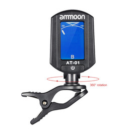Wholesale Ukulele Parts - ammoon AT-01 Mini Clip-on Guitar Tuner Digital Foldable & Rotating Tuner for Chromatic Guitar Bass Violin Ukulele Guitar Parts