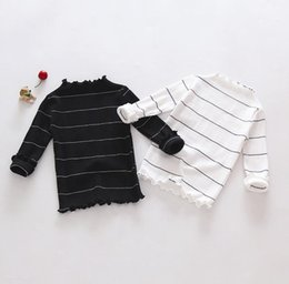 Wholesale Wholesale Striped Tshirts - New Autumn Baby Girls Knitted Tops Base Shirt Kids Cotton Tshirt Striped Pullovers Children Casual Tshirts White Black 12445