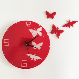 Wholesale Flying Clock - Diy PINK BLACK Butterflies And 3d Clock Mirror Wall Stickers Butterfly Flying Background Adhesive Wall Art Mirror Wallpaper Posters