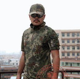 Wholesale Black Rattlesnake - Wholesale-Army Quality T Shirt Men Summer Outdoors Hunting Camouflage Mens T-shirt Breathable Rattlesnake Tactical Dry Sport TSHIRT