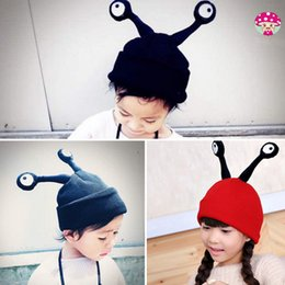 Wholesale Kid Hat Funny - Cute Children Hats Funny Cartonn Eyes Wool Cap Kintted Hat Winter Warm Wool Kids Caps Embroidery Beanies 4 Colors