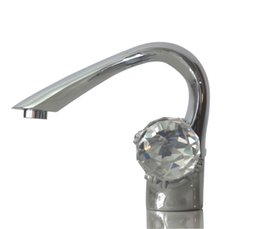 Wholesale Chrome Crystal Faucet - Free ship Chrome Finish Two crystal Handles Centerset Bathroom Sink Faucet mixer NEW