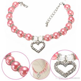 Wholesale Pearl Dog Collar - Cute Pet Dog Necklace Pearl Collar with Rhinestone Heart Shaped Charming Pendant Jewelry Syeer J00016 BARD