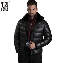Wholesale Force Leather Jacket - Wholesale- TIGER FORCE New Men Fashion Down Jacket Duck Down PU Leather Fabric Winter Down Coat Parka Plus Size Black Free Shipping D-571F