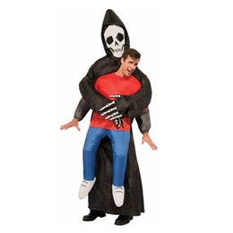 Wholesale Inflatable Skeleton - Grim Reaper Scary Suit Inflatable Illusion Skull Adult Halloween Costumes for Women Men Cheap Ghost Skeleton Fancy Dress