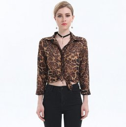 Wholesale Neck Leopard Chiffon - High Street Blusas Femininas 2017 Women Blouse Ladies Sexy Long Sleeve Leopard Print Chiffon Blouses Blusas Tops Shirt for Women
