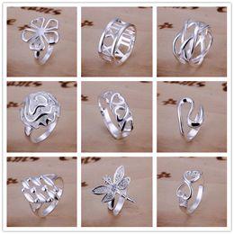 2019 meninas anéis dedo tamanho Alta Qualidade 925 Sterling Silver banhado Anéis Multi Estilos Encantos Tamanho do Anel de Dedo 7,8 Misturado moda engagement fine Jewelry para mulheres meninas meninas anéis dedo tamanho barato