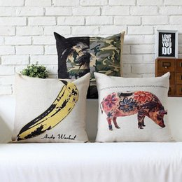 Wholesale Car Back Cushion - 45cm Andy Warhol Pop Pig Banana Pattern Cotton Linen Fabric Waist Pillow 18inch Hot Sale New Home Decorative Sofa Car Back Cushion