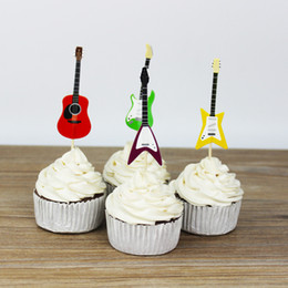 topper picks for cupcakes Coupons - Wholesale- Musical Instruments party cupcake toppers picks decoration for Kids Birthday party Cake favors Decoration supplies