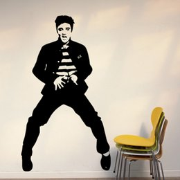 Wholesale Dance Stickers - 57*100cm Free Shipping Morden Elvis Presley Dancing poster Murals Art Decals Removable Home Decor Vinyl Wall Stickers