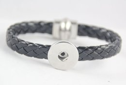 Wholesale European Magnetic Bracelet - Noosa Braided PU Leather Snap Button Bracelet Magnetic Clasp snap Bangle DIY 18MM Noosa Ginger Snap Button Chunks Bangle Jewelry