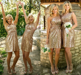 Wholesale Gold Sequins Mini - New Rose Gold Bridesmaid Dresses Short Honor Of Maid Formal Gowns For Summer Wedding Guest One Shoulder Backless Sequins Cocktail Dress 2016
