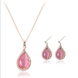 Wholesale Rose Gold Pendant Light - Fashion Light Pink Opal Necklace Sets Rose Gold Plated Crystal Paved Earrings Pendant Necklace Jewelry Sets Wedding Jewelry Wholesale