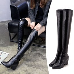 Wholesale Elastic Knee High Boots - Super Recommend Sexy Black Suede Elastic Slim Over The Knee Boots Women Winter Thigh High Boots 2017 New Size 34 To 40